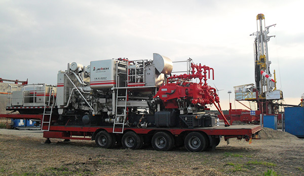 Trailer Mounted Twin Pump Cementing Unit in Poland